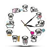 NIGU Relojes de cocina de pared grandes relojes de pared lindo carajo reloj de pared perro perro perro guardería pared decoración cachorro pared relojes regalos únicos idea para ella