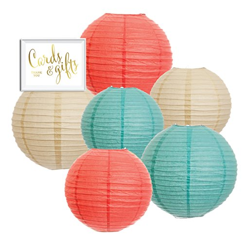 Andaz Press Hanging Paper Lantern Party Decor Trio Kit with Free Party Sign, Ivory, Coral, Diamond Blue, 6-Pack, For Peach Mint Robin's Egg Baby Bridal Shower Easter Classroom Decorations