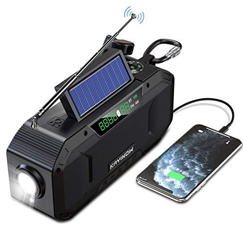 Hand Crank Emergency Weather Radio w/Bluetooth Speaker - 5000mAh Portable NOAA WB AM FM Radio, IPX5 Waterproof Solar Radio for Home Camping Hurricane, SOS Alert, Cell Phone Charger, Flashlight