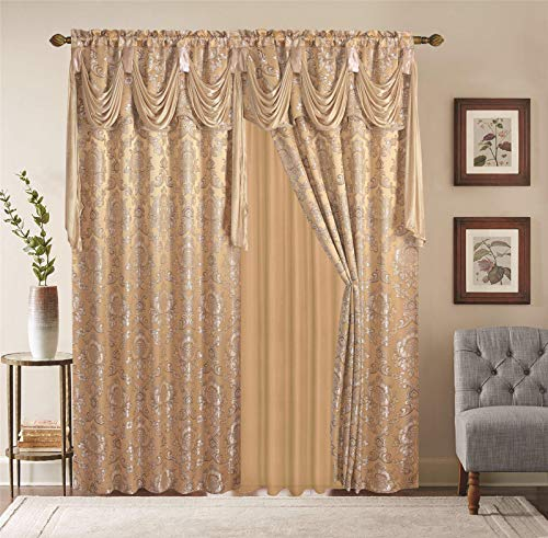 """SHAKLINEN Window Curtains 2 Panel Set Luxury Red Burgundy Taupe Gold with Valance, Sheer, Backing Size 112""""x84"""" for Living Room, Bedroom, Grommet Drapes… (Gold)"""