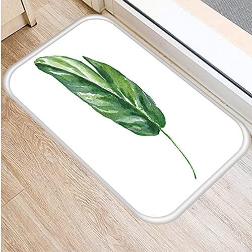 HLXX Tropical Green Palm Leaf Monstera Pattern Door Mat Coral Velvet Carpet Rubber Indoor Floor Mats Non-Anti-Slip Rug A13 40x60cm