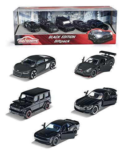 Majorette Black Edition 5er Geschenkset, 5 Fahrzeuge, Spielzeugautos mit Federung, Modelle: Audi R8, Brabus B63, Nissan GT3 Nismo GTR, Dodge Demon & Mercedes-AMG GTR, hochwertige Lackierung, 7,5 cm