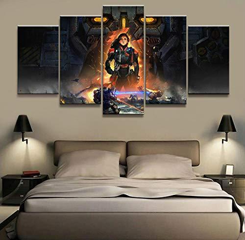 WARMBERL Lienzo de 5 paneles Valkyrie Battle Mechs Juego de lona para sala de estar, decoración del hogar, póster de arte impreso sobre lienzo enmarcado