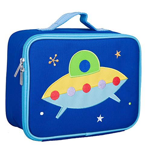 Wildkin Kids Insulated Embroidered Lunch Box Bag for Boys and Girls, Perfect Size for Packing Hot or Cold Snacks for School & Travel, Measures 10 x 7.5 x 4 Inches, BPA-Free, Olive Kids (Spaceship)