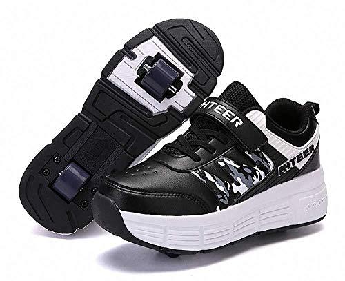 qmj Schuhe Mit Rollen Kinder Skateboard Schuhe Roller Skate Schuhe Sportschuhe Mit Rollen Für Mädchen Jungen,Black-40
