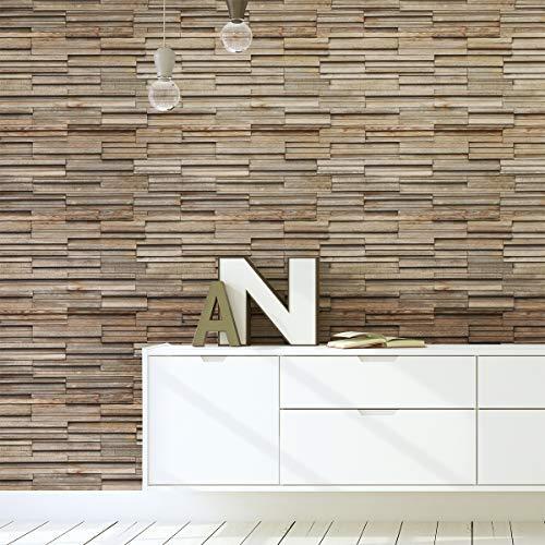 Ambience Muurtattoo, 1 stuk, zelfklevend, houtbespanning | Muursticker voor badkamer, keuken, woonkamer | Ambiente Sticker Behang – 40 x 40 cm – 1 stuk