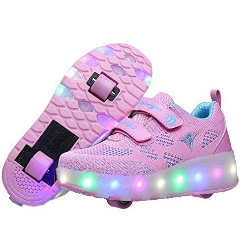 nnn LED Lichter Blinken Skateboard Schuhe,Jungen Mädchen Blinkschuhe Laufschuhe,Bunt Leuchtende Schuhe Mit USB Aufladbare,Mit 2 Räder Gymnastik Sneaker,Pink-29