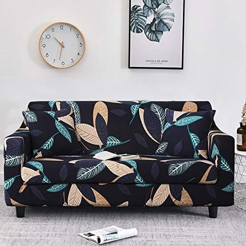 WXQY Funda de sofá elástica con Estampado Floral de Hojas para Sala de Estar, Protector de sofá, Funda de sillón, Funda de sofá de decoración del hogar A12 de 3 plazas