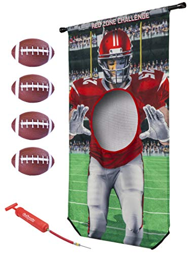 GoSports Red Zone Challenge | Includes Universal Door Frame Tension Rod, 4 Inflatable Footballs and Ball Pump, Multi