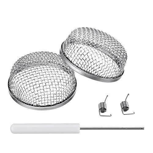 Miady RV Furnace Vent Screen - 2 Pack Flying Insect Bug Cover Camper Heater Exhaust Vents - 2.8' Stainless Steel Mesh Screens - Installation Tool Included