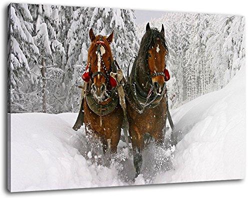 Paard getrokken koets in de sneeuw schilderij op doek, XXL enorme Foto's volledig ingelijst met brancard, Art print op muur foto met frame