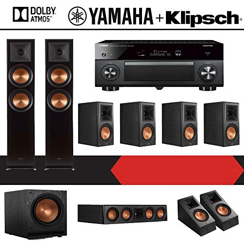 Klipsch RP-6000F 7.1.2-Ch Reference Premiere Dolby Atmos Home Theater Speaker System with Yamaha AVENTAGE RX-A2080 9.2-Channel 4K Network AV Receiver