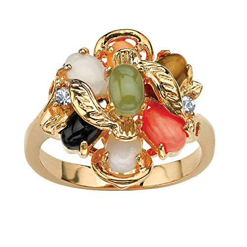 Yellow Gold-Plated Oval Shaped Genuine Green Jade, Tiger's Eye, Coral, Onyx and Opal Ring Size 6