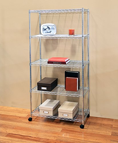 "Seville Classics 5-Tier Steel Wire Shelving with Wheels, 30"" W x 14"" D, Chrome"
