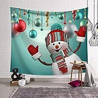 クリスマスタペストリー雪だるま壁掛け背景壁掛けベッドカバー寝室部屋の装飾タペストリーギフト-150x150cm