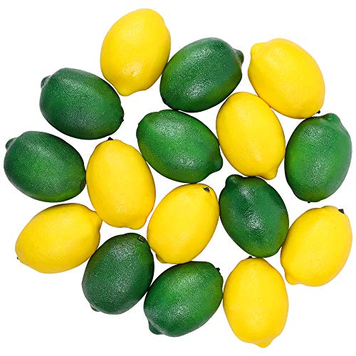 CEWOR 16pcs Artificial Lemons Fake Lemon Lifelike Simulation Fruit for Home House Kitchen Party Decoration (Green and Yellow)