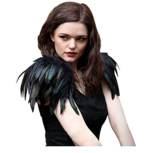 L'vow Natural Real Feather Epaulet Shrug Shoulder Strap Halloween Costumes Pack of 2