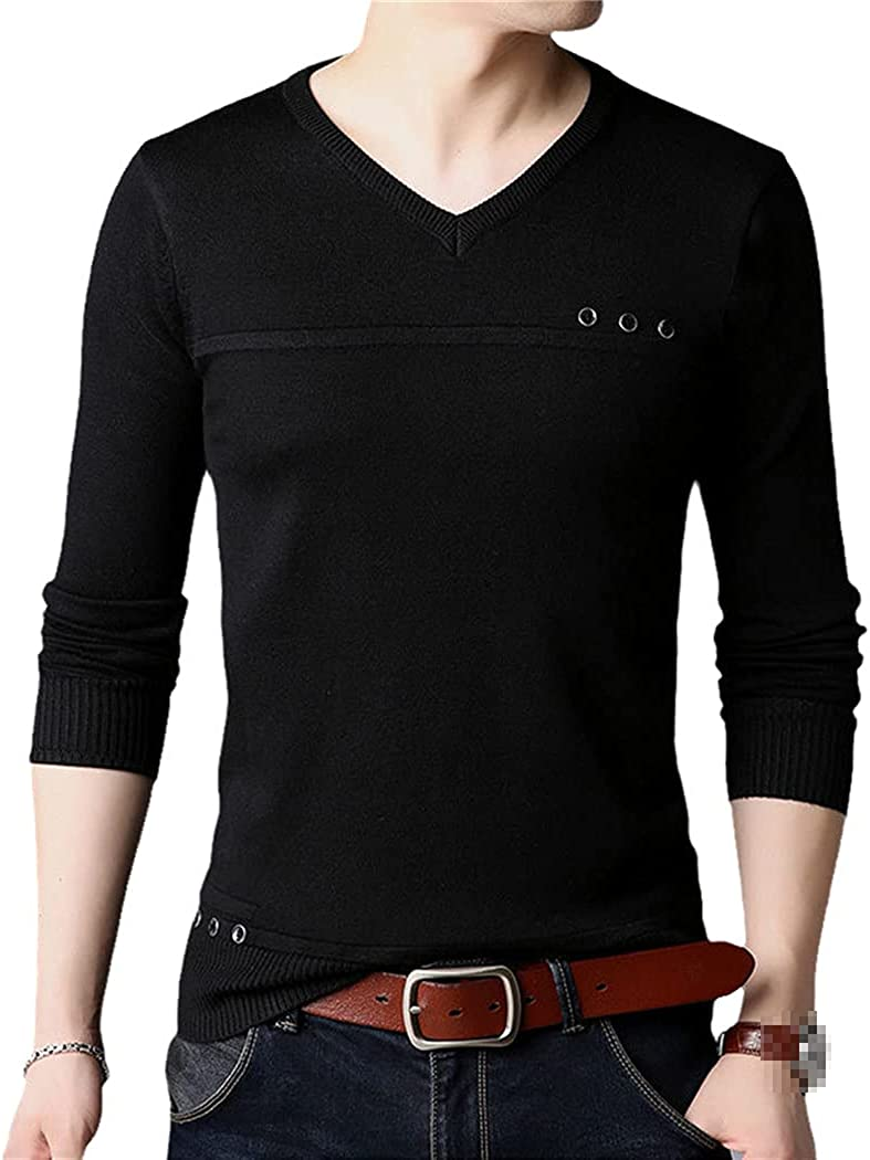 Fashion Button Knitted V Neck Sweater Men Pullover Tops Clothes Knit Solid Mens Sweaters Pullovers