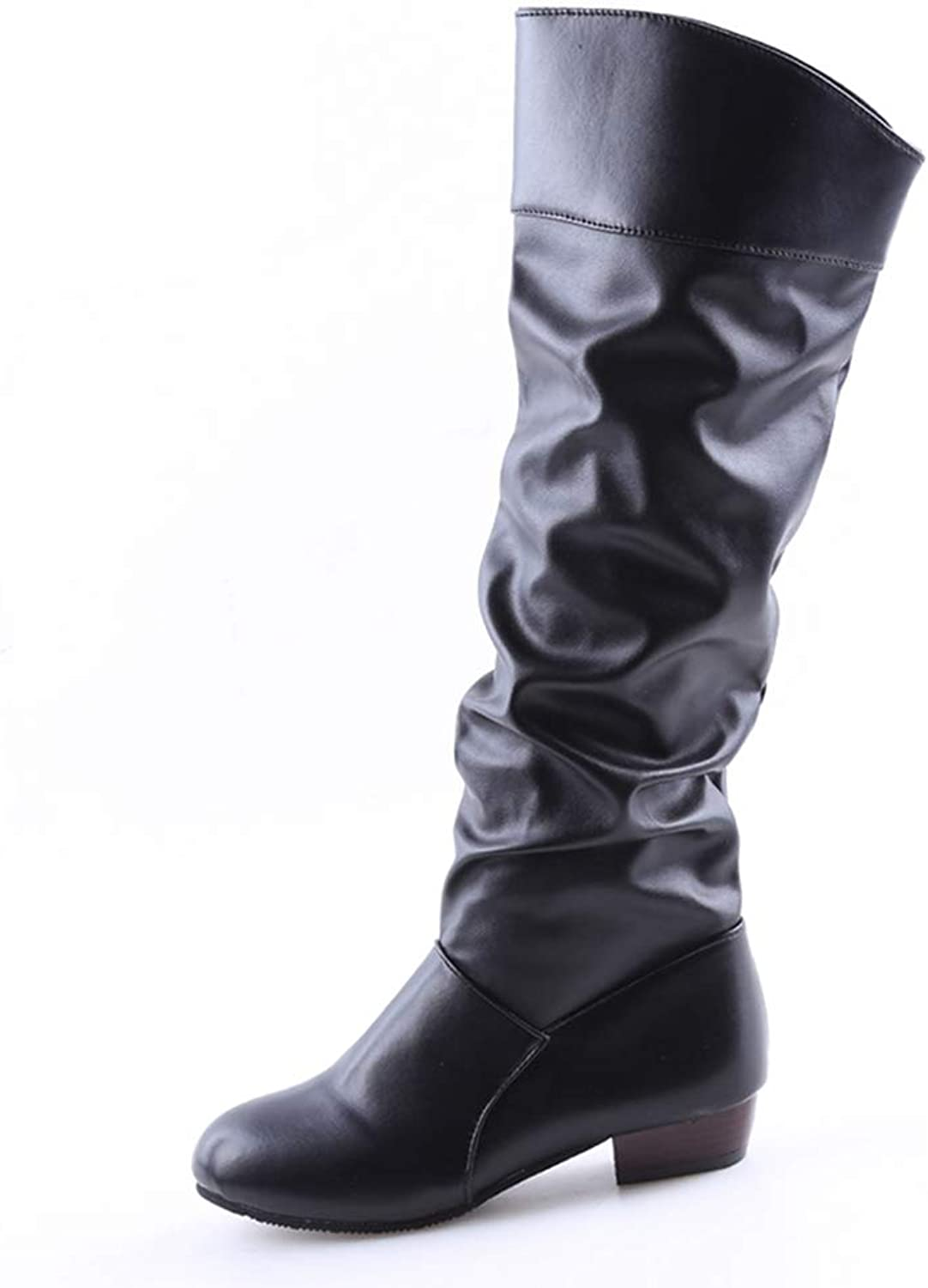 aa042b73908d2 Women Slip-On Boots Stretch Knee-Length Boots Toe Square Heel Thigh ...