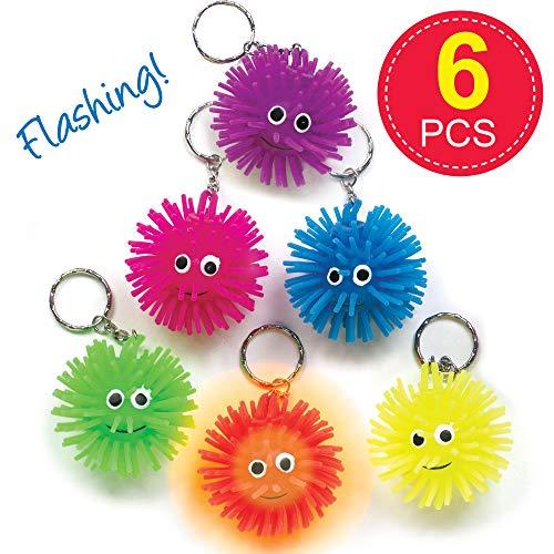 Baker Ross K102 sleutelringen met knipperend egelballen speelgoed voor kinderen als cadeautje en prijs bij kinderverjaardag 6 stuks, gesorteerd