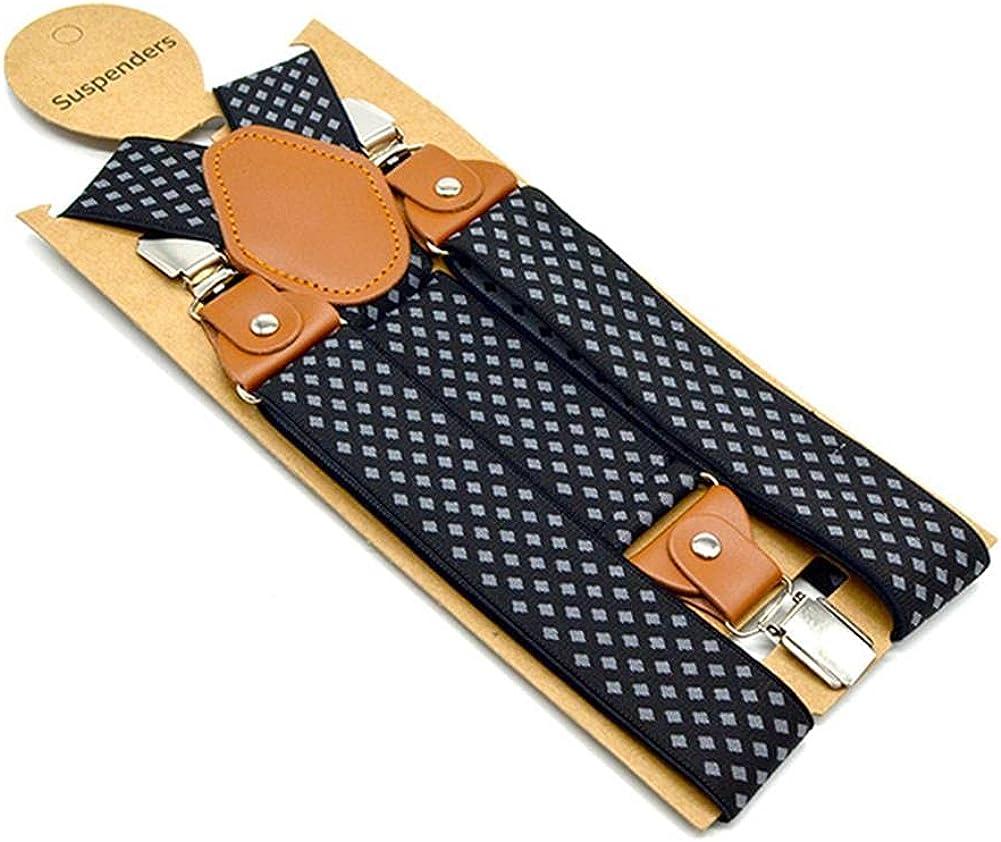 Men'S Suspenders Formal Trouser Belt Diamond Men Braces Suspender Elastic Clips Pants Strap 120Cm