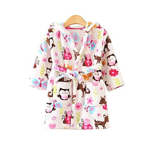 JZLPIN Unisex Baby Mit Kapuze Bademantel Kinder Flanell Pyjama Morgenmantel zum Jungen Mädchen Eule 120CM(3-4 Jahre)