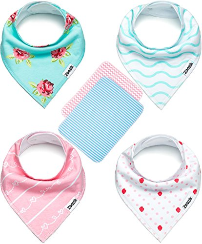 Baby Bandana Drool Bibs for Girls with 2 Burp Cloths, 6-Pack Gift Set for Drooling and Teething, 100% Organic Cotton, Soft, Absorbent, Hypoallergenic -