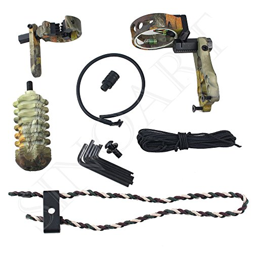 SinoArt Archery Acccessories Combo Set Archery Upgrade, 5 Pin Bow Sight with Level and Light, Arrow Rest, Stabilizer, Sling, Peep for Compound Bow and Recurve Bow (Camo)