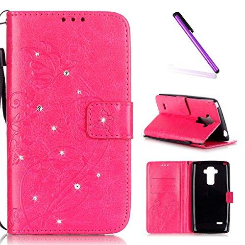 EMAXELERS LG G4 Stylus Hülle Bling Glitzer Diamant Schmetterling PU Leder Handy SchutzHülle für LG G Stylo,mit Standfunktion für LG G4 Stylus LS770,Rose Butterfly with Diamond