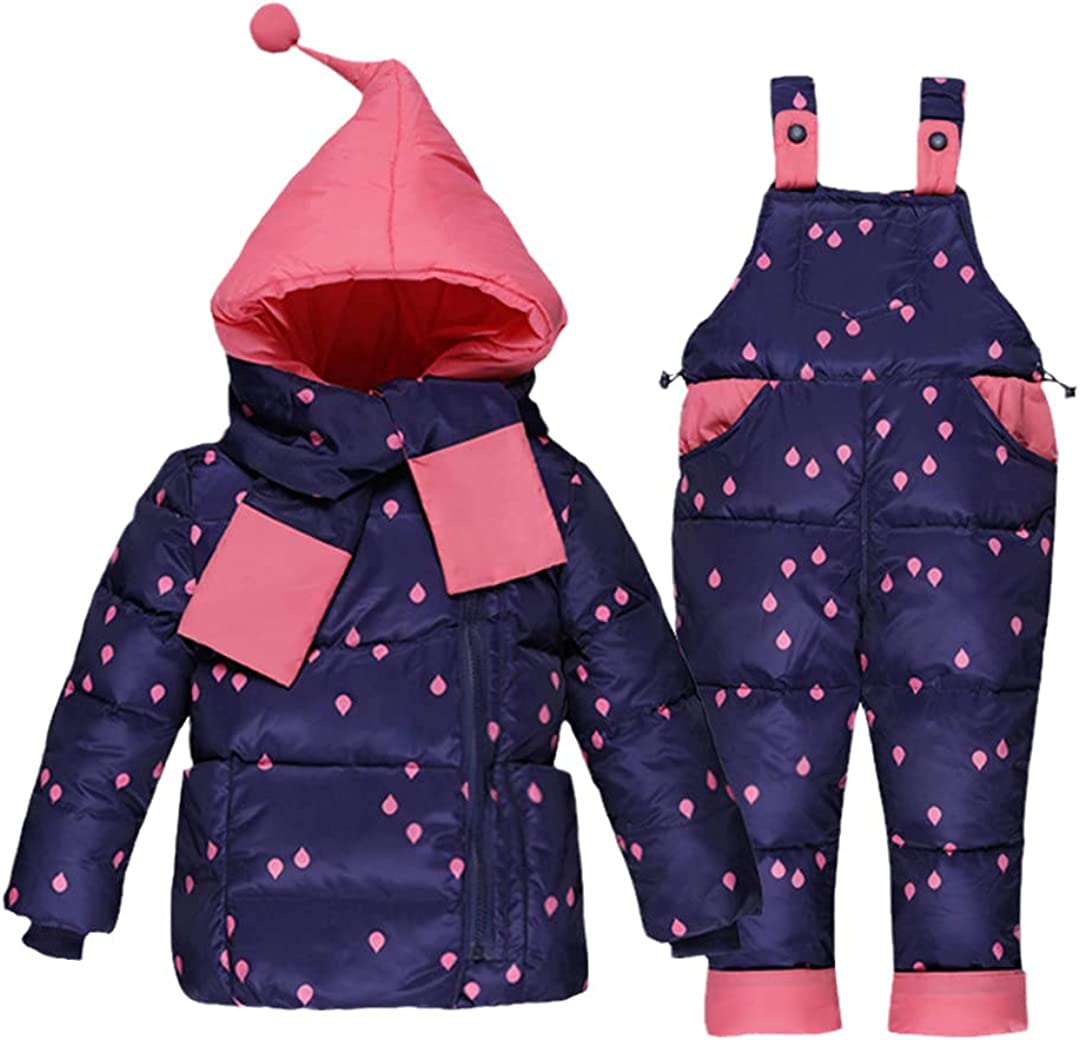 Winter Baby Girl's Sets Down Jackets Kids Snowsuit Children Overalls Suit Down Jacket Outerwear Coat+Pant Jumpsuit
