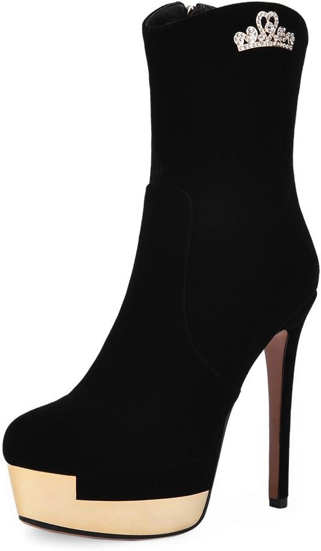 SaraIris Platform Mental Decoration Stiletto Heels Zipper Round-Toe Mid-Calf Boots for Women