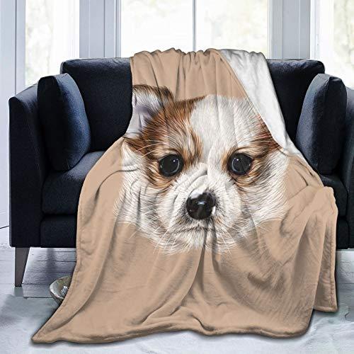 Manta mullida, retrato de cachorro, linda amiga peluda, perro, mascota, arte gráfico, ultra suave, manta para dormitorio, cama, TV, manta de cama de 80 x 60 pulgadas
