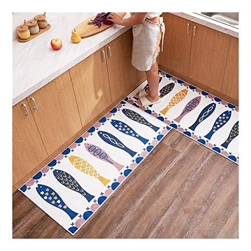 Keuken Tapijt Duurzaam Keuken Deken met anti-slip rubberen Backing en uniek ontwerp Perfect for Kitchen Floor Deurmat Buiten Extra Duurzaam (Color : D, Size : 40 * 60+45 * 180CM)