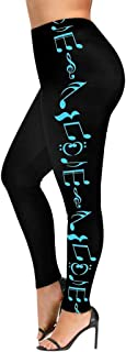 Mikey Store Womens High Waist Fitness Yoga Sport Pants Music Note Printed Leggings