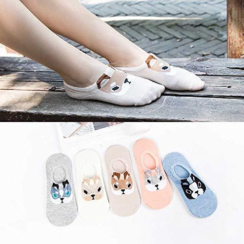 ZHANGNUO 5 Paare Candy Color Kleintier Cartoon Pattern Bootssocke Für Sommerliche Atmungsaktive Casual Girls Blau