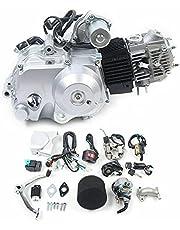 125cc motor 4-takt motor halfautomatisch, ATV-motor Go-Kart-eencilindermotor, luchtgekoeld, elektrische start met bekabeling + luchtfilter + kettingkast voor pitbikes, dirtbikes, buggy