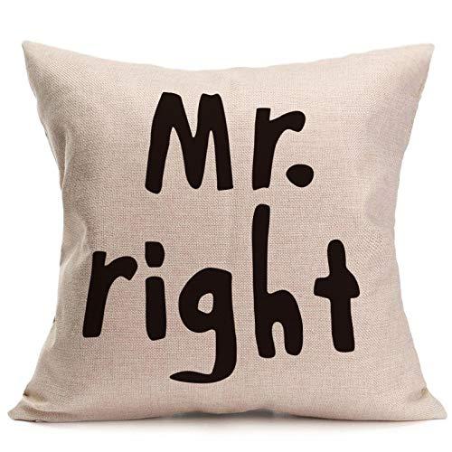 Yilooom Funda de almohada de 55,8 x 55,8 cm, diseño de amor Mr Mrs, algodón y lino, para regalo, decoración del hogar, decoración de boda, funda de almohada decorativa #299