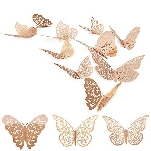 36 Pcs 3D Butterfly Wall Decals Sticker with Rose Gold Butterfly Decals Metallic Art Decorations Sticker with Set 3 Sizes DIY Man Made Removable Decorative Paper Murals for Home, Nursery