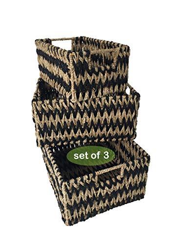 Made Terra Cestas de Almacenamiento Seagrass para la organización y decoración del hogar | Cestas de Mimbre para estantes con Asas de inserción (Pasto Marino en Zigzag)