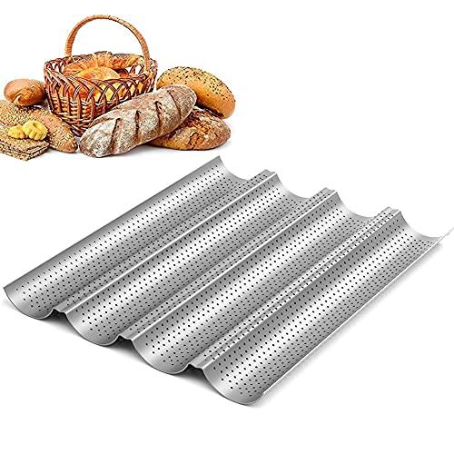 Molde para Hacer Baguettes, Molde para Hornear de Barra de Pan Francés Perforado Antiadherente, para Colocar y Hornear 4 Baguettes Francesas - Plata (33 * 38 * 3CM)
