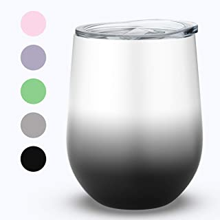 12 oz Stainless Steel Stemless Wine Glass Tumbler, Umite Chef Double Wall Vacuum Insulated Wine Tumbler with Lids for Coffee, Wine, Cocktails(Black and White)