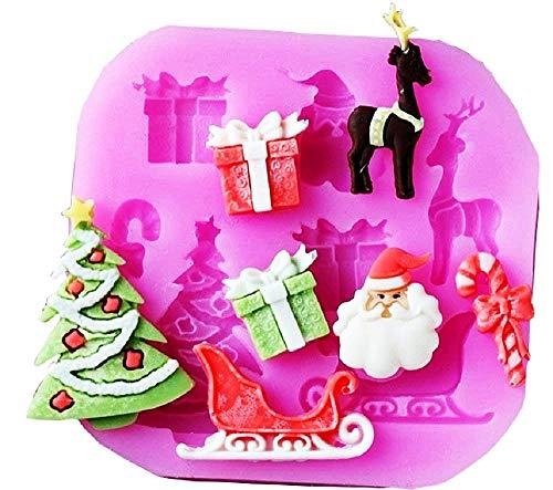 Lovelegis Stampo Silicone Babbo Natale - Renna - Albero Natalizio - Pacco Regalo - Caramella BonBon - Slitta - Pasta di Zucchero - Fondenti - Torte - Uso Alimentare - Cucina - Idea Regalo Natale