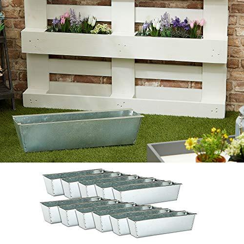 Pflanzkasten passend für Europaletten 12er Set aus Zink Pflanzkübel (1 x 12er Set Pflanzkasten Zink)