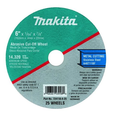 Makita 724112-A-25 4 1/2-Inch Cut Off Wheel 25-Pack -