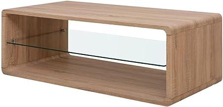 vidaXL Coffee Side Table Glass Shelf Living Room Furniture 110x55x39cm Brown