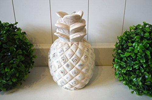 HKC Home Deco Ananas Keramik Deko-Objekt Trend Skulptur Creme antik 21cm Tischdeko Wohn-Deko Badezimmer-Deko Garten-Skulptur Frucht Gartendeko