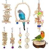 Vegena Juguete para pájaros, juego de 8 unidades, escalera de madera, juguete con espacio de aterrizaje, jaula para pájaros, loros, loros, cacatúas, cacatúas, periquitos grises