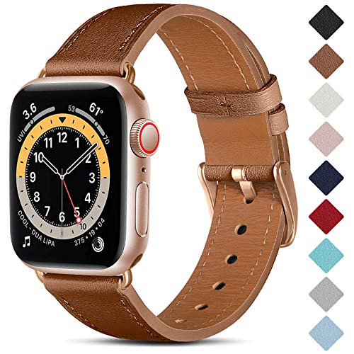 CeMiKa Correa de Cuero Compatible con Apple Watch Correa 38mm 40mm 42mm 44mm, Correas de Repuesto de Cuero Genuino Compatible con iWatch SE/Series 6 5 4 3 2 1, 38mm/40mm, Marrón/Oro Rosa