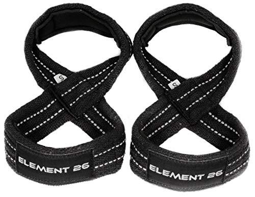 Element 26 Padded Figure 8 Wrist Straps - Weightlifting Straps - Figure 8 Straps - Wrist Straps for Crossfit, Weight Lifting, Deadlifts, Farmer Walks (Medium, Black)
