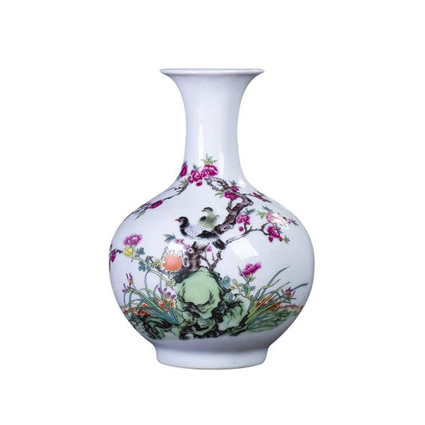 画面モノグラフ夜の動物園ZHANGXIUE 花瓶セラミック花瓶の装飾リビングルームフラワーアレンジメントアンティーククラシックホームデコレーション (Color : White)
